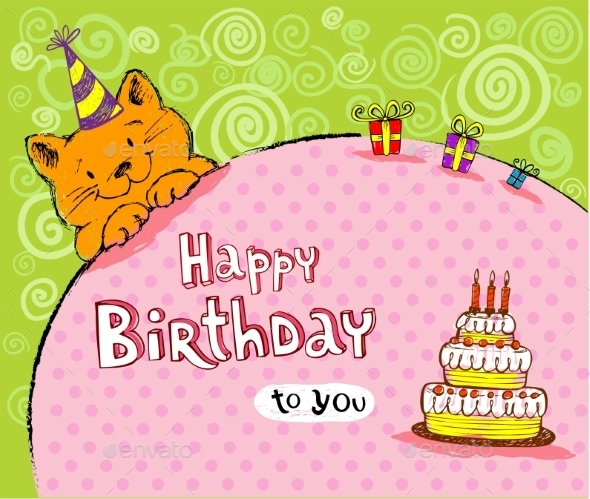 Birthday Greeting Card with Red Cat - Birthdays Seasons/Holidays