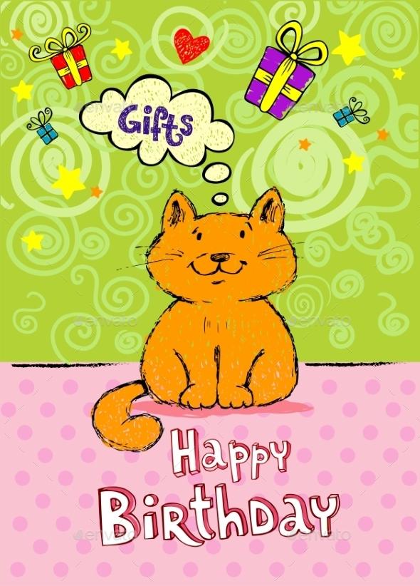 Birthday Greeting Card with Red Cat - Birthdays Seasons/Holidays