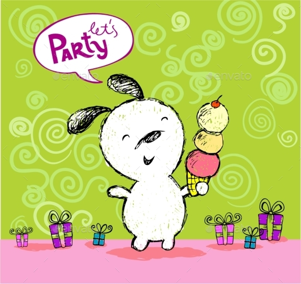 Birthday Greeting Let's Party Card - Birthdays Seasons/Holidays