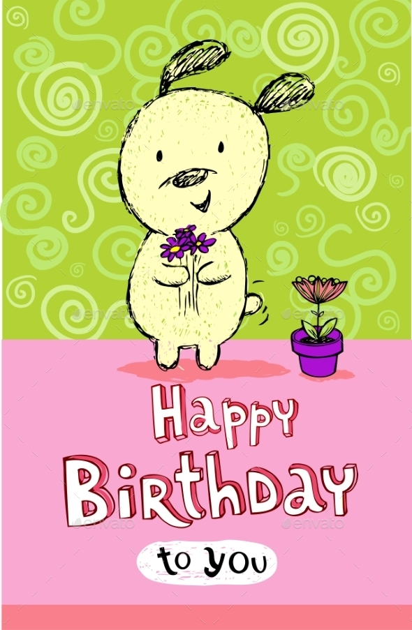 Birthday Greeting Card with Puppy - Birthdays Seasons/Holidays