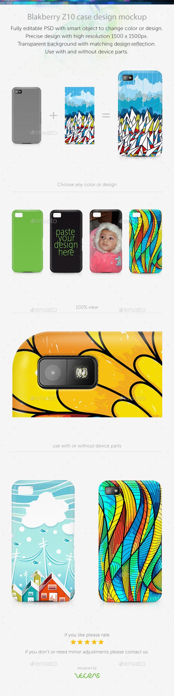 Blakberry Z10 Case Design Mockup