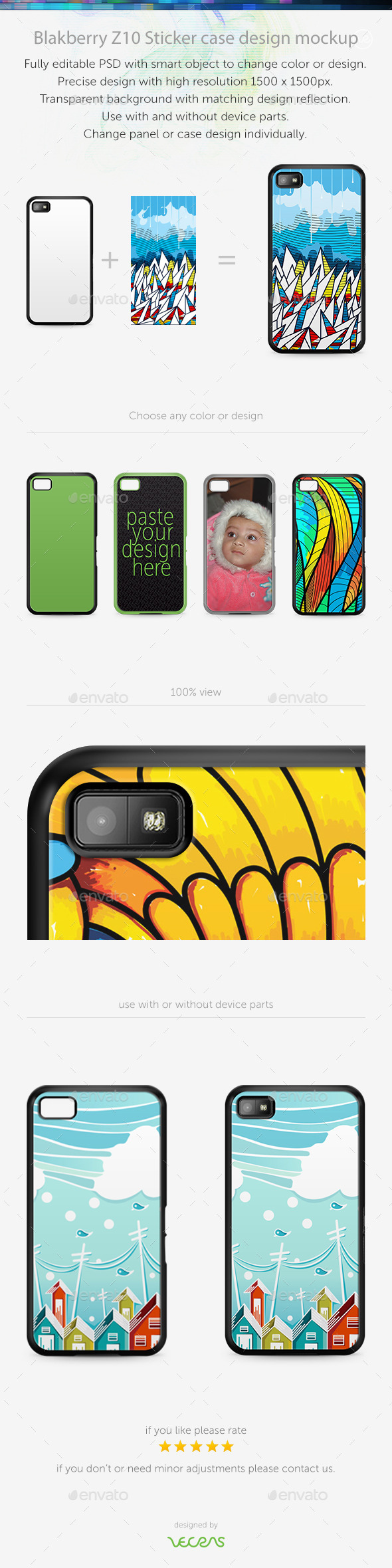 Blakberry Z10 Sticker Case Design Mockup - Mobile Displays