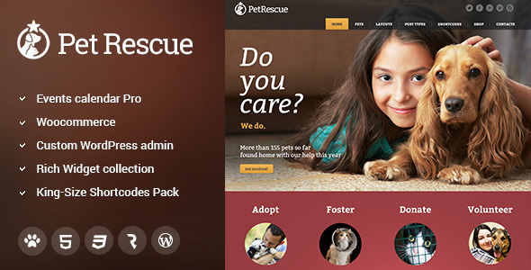 Pet Rescue – Animals & Shelter Charity WP Theme