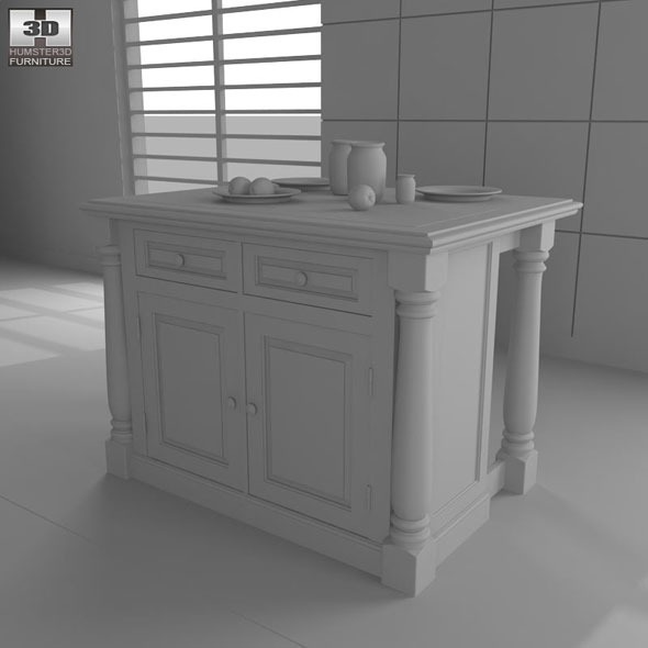 Monarch Kitchen Island - Home Styles by humster3d   3DOcean