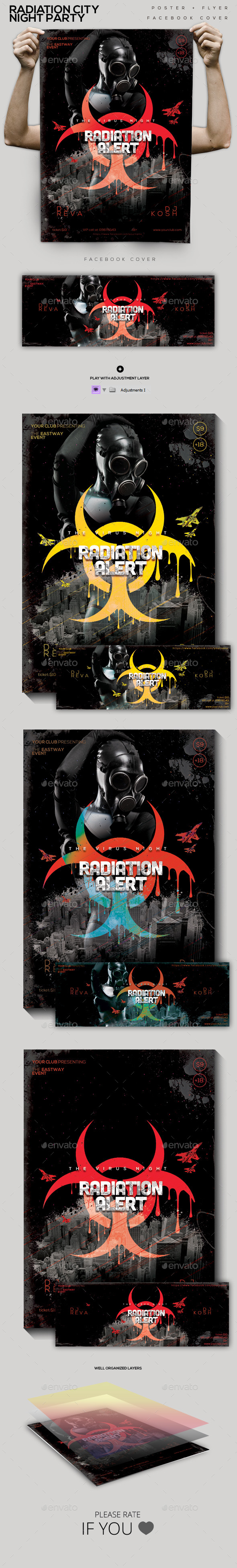 Radiation City Night Party Flyer/Poster/Facebook C - Clubs & Parties Events