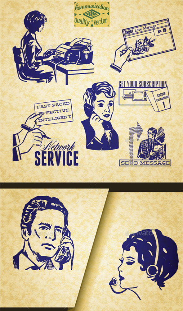 Communication Retro Set of Illustrations - Communications Technology