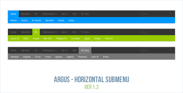 Argus - Horizontal Submenu - CodeCanyon Item for Sale