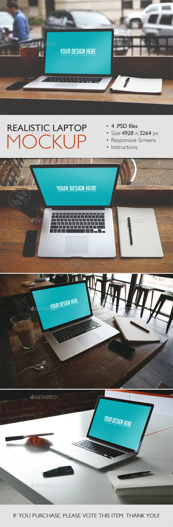Realistic Laptop Mockup - Displays Product Mock-Ups