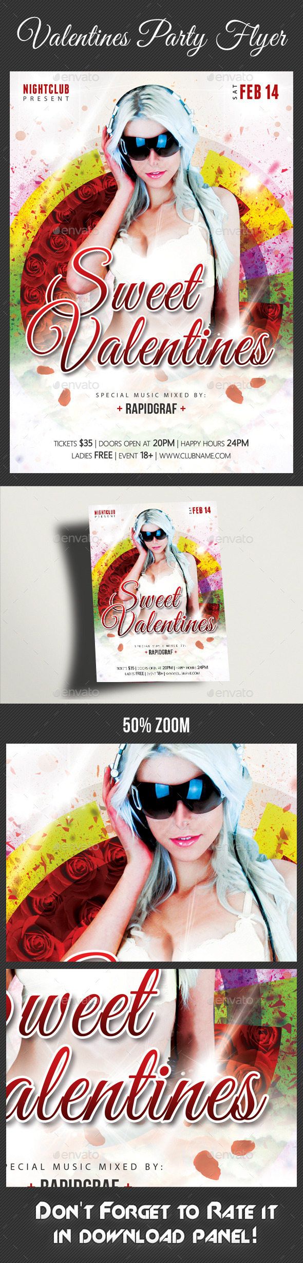 Valentines Day Party Flyer Template 02 - Clubs & Parties Events