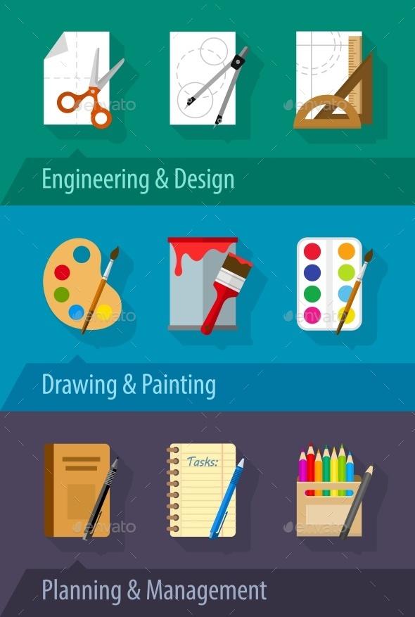 Flat Icons Engineering Design Art Planning - Web Elements Vectors