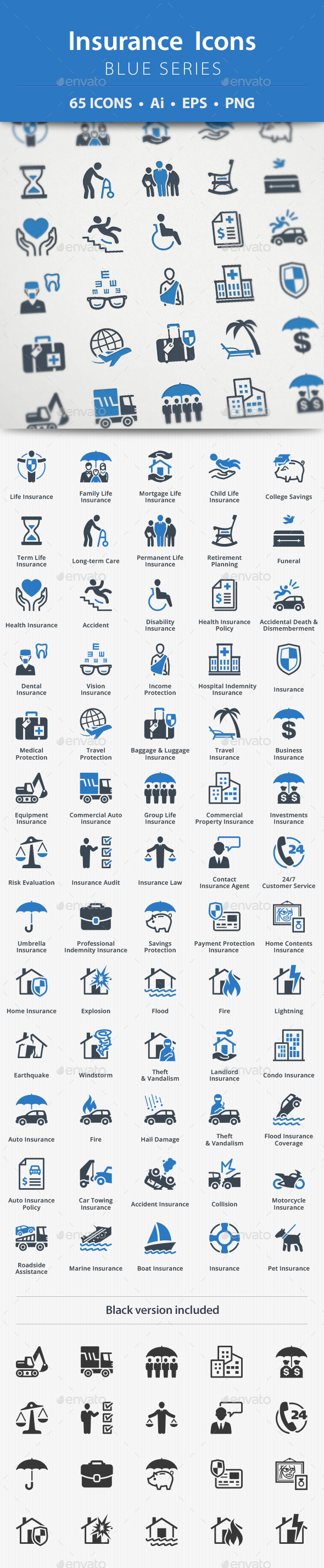 Insurance Icons - Blue Series - Business Icons