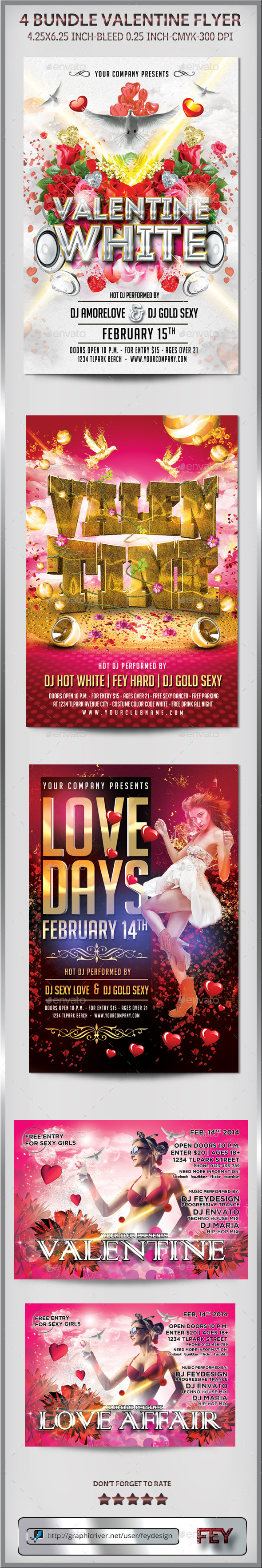 4 Bundle Valentine Party Flyer - Events Flyers