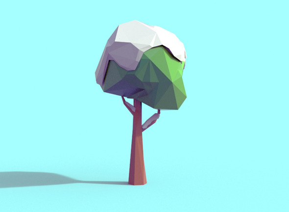 Low Poly Snowy Tree - 3DOcean Item for Sale