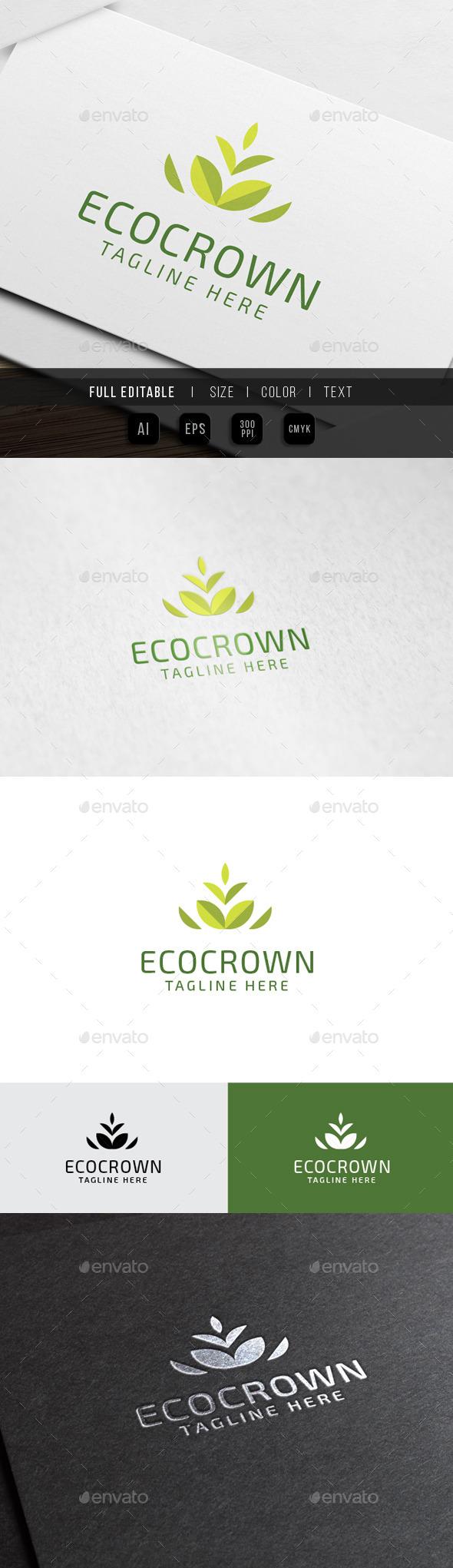 Eco Crown Leaf Logo - Nature Logo Templates