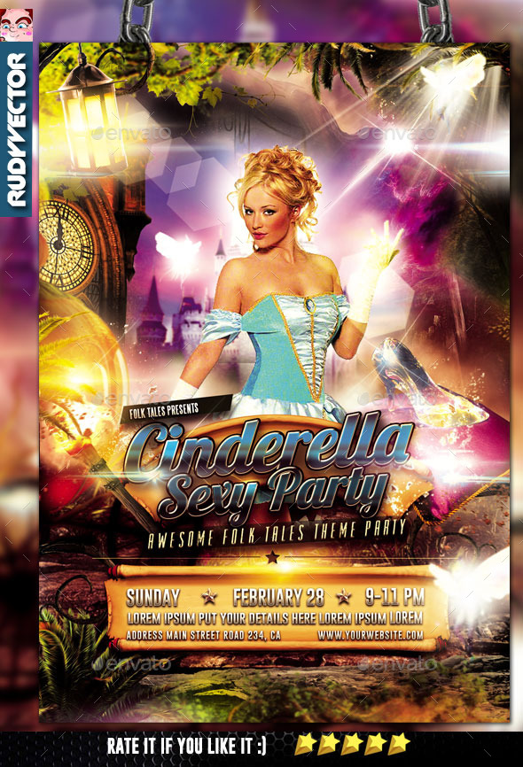 Cinderella Little Glass Slipper Folks Tale Flyer - Clubs & Parties Events