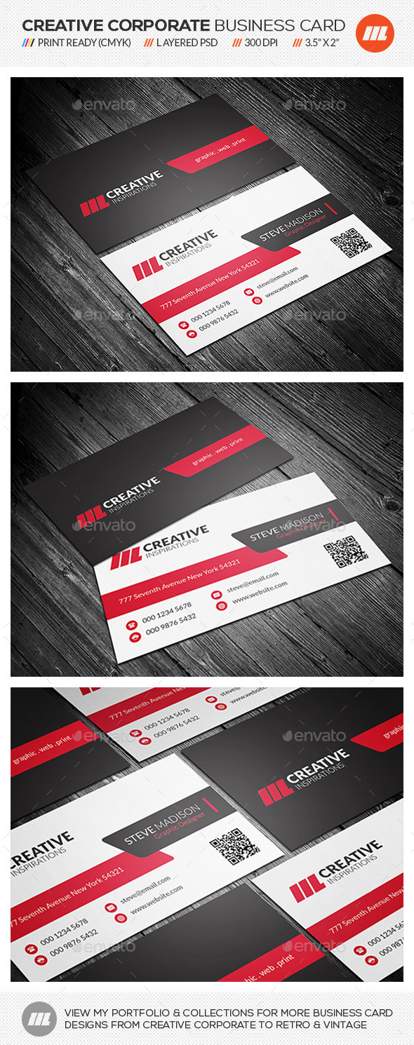 Clean & Modern Corporate Business Card - Corporate Business Cards