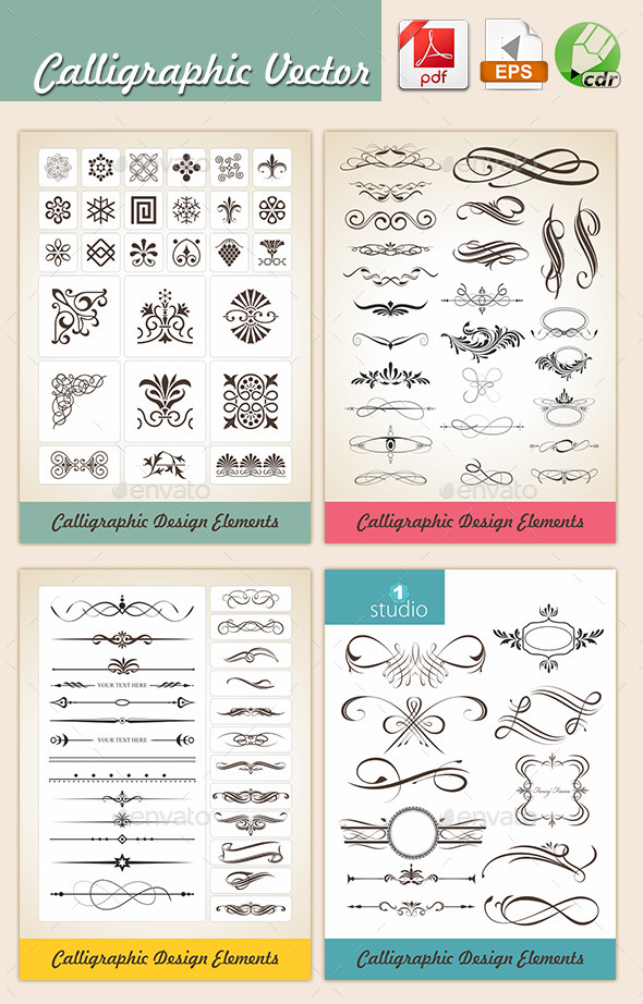 Agastya Calligraphic Vectors - Flourishes / Swirls Decorative