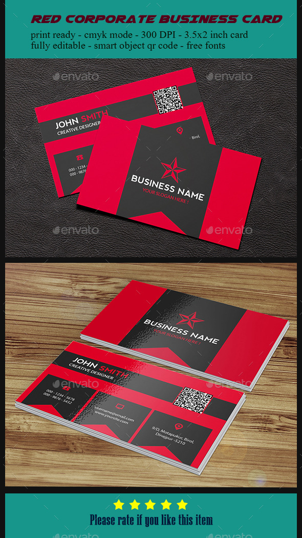 Red Corporate Business Card - Corporate Business Cards