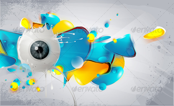 Human eye with abstract elements and forms - Retro Technology