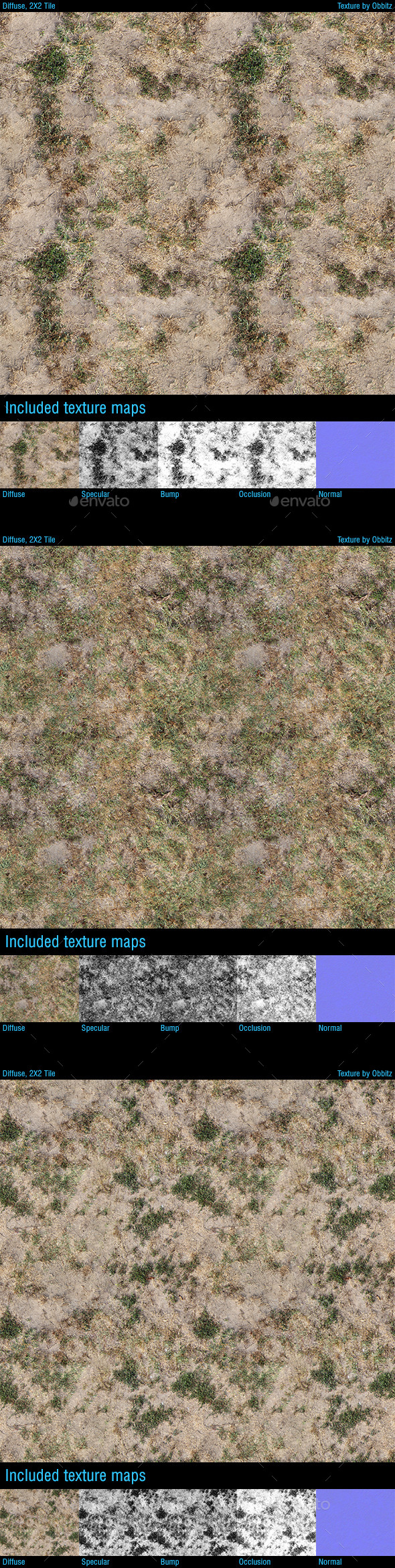 Dried Grass Ground - Pack of 3 Textures - 3DOcean Item for Sale