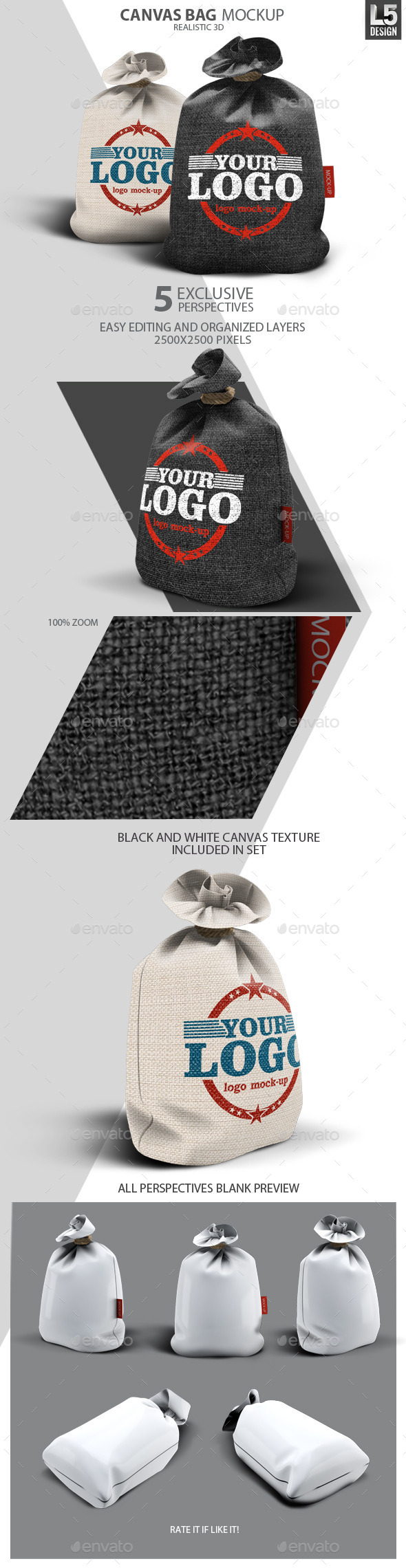 Canvas Bag Mock-Up - Miscellaneous Product Mock-Ups