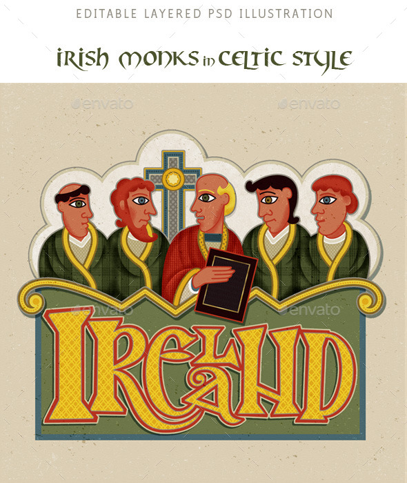 Ireland, Monks in Modern Irish Celtic Art Style - People Illustrations