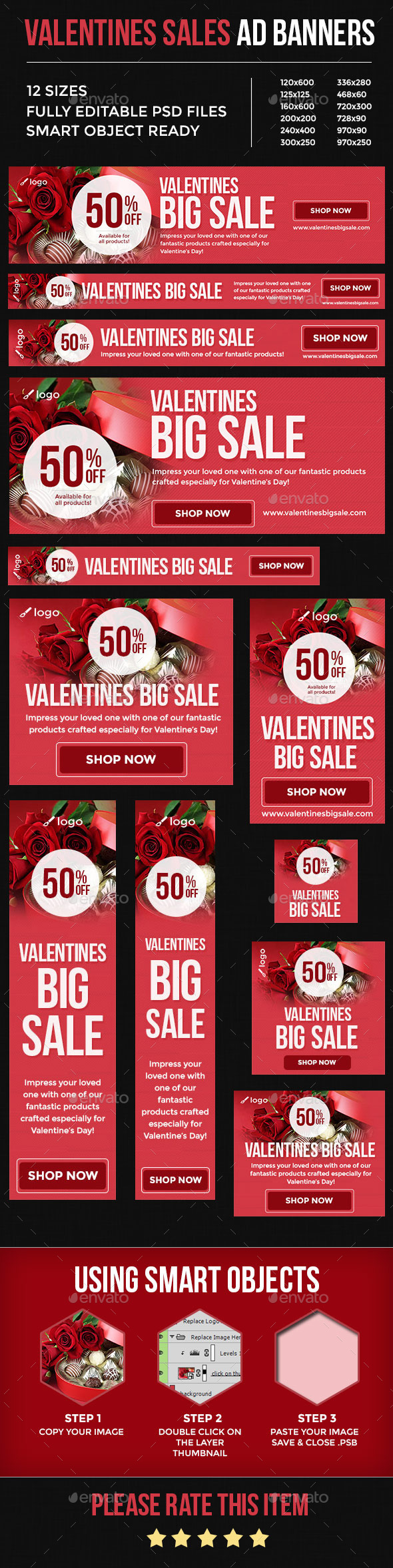 Valentines Sales Ad Banners - Banners & Ads Web Elements
