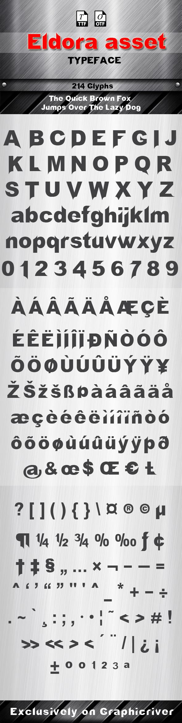 Eldora Asset Font - Futuristic Decorative