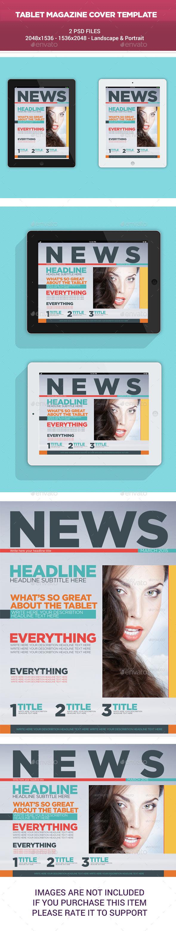 Tablet Magazine Cover Template - Digital Magazines ePublishing