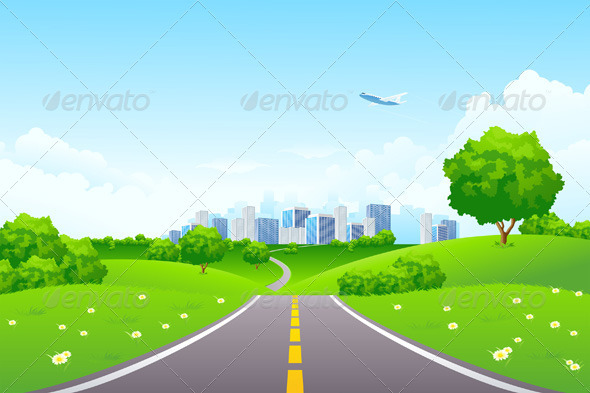Landscape - Green Hills with Tree and Cityscape - Landscapes Nature