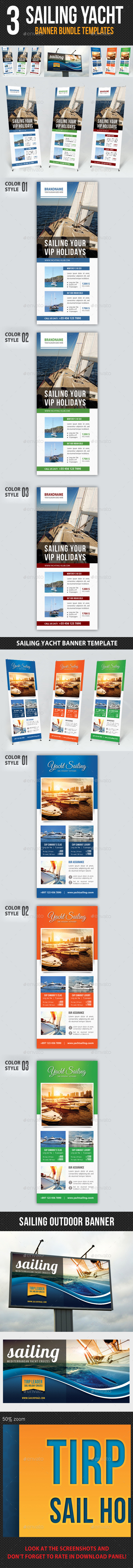 3 in 1 Sailing Yacht Banner Bundle 02 - Signage Print Templates