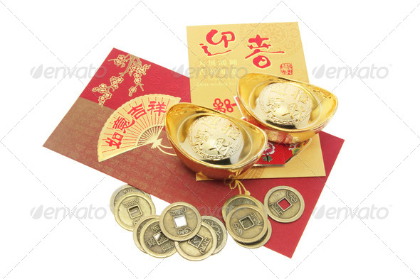 Chinese New Year Products on White Background - Stock Photo - Images