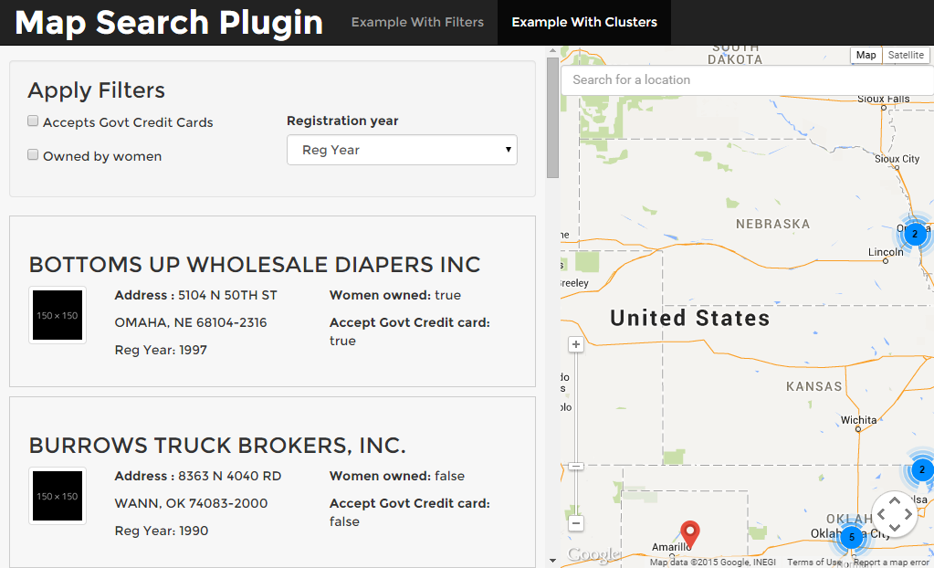 Map Search jQuery Plugin Using Google Maps API V3