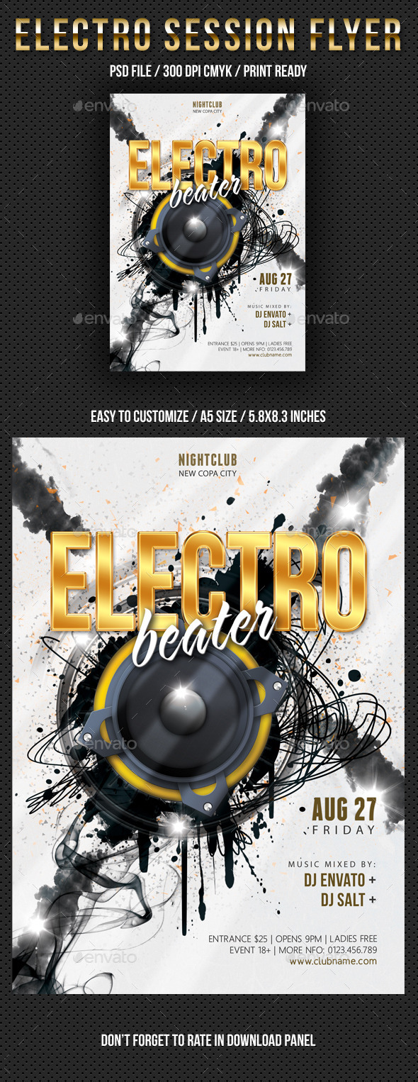 Electro Session Night Party Flyer V02 - Clubs & Parties Events