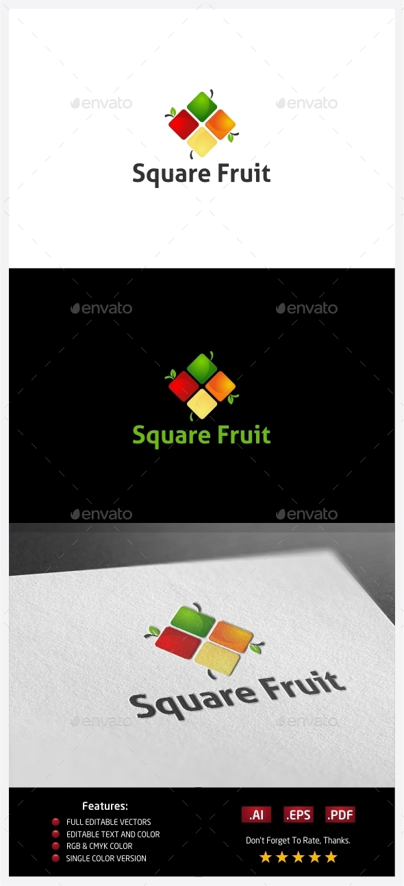 Square Fruit Logo - Food Logo Templates