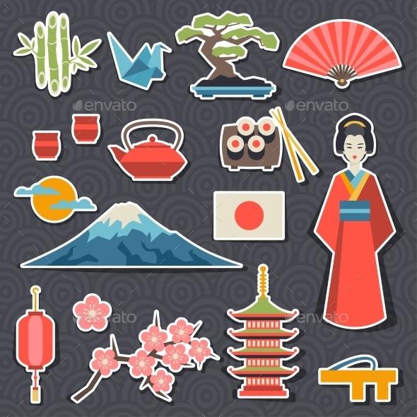 Japan Icons and Symbols Set - Travel Conceptual