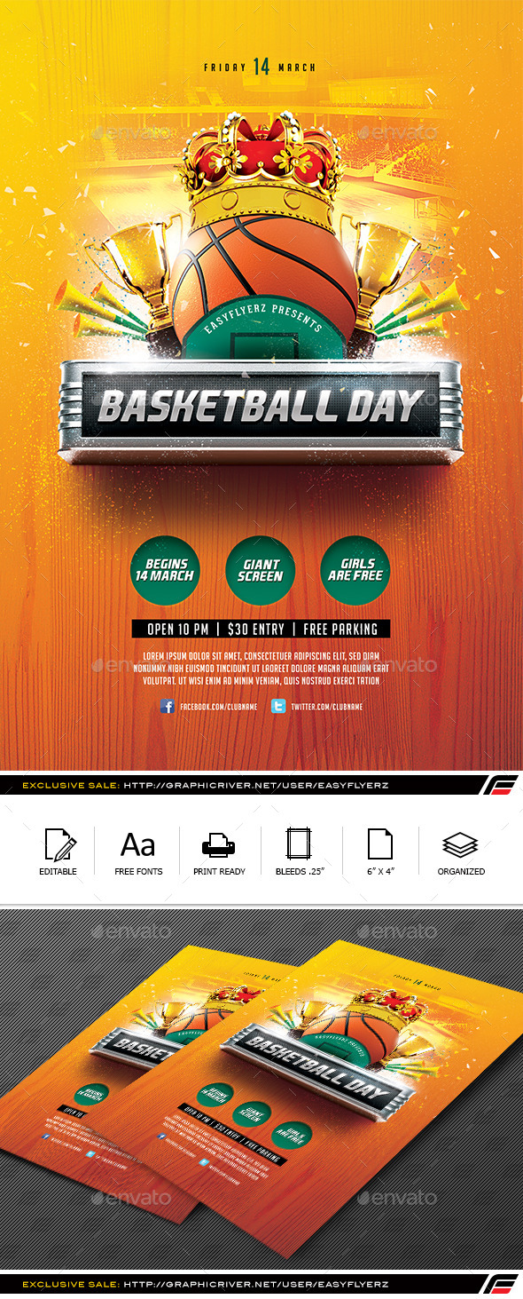 Basketball Day Flyer Template - Sports Events