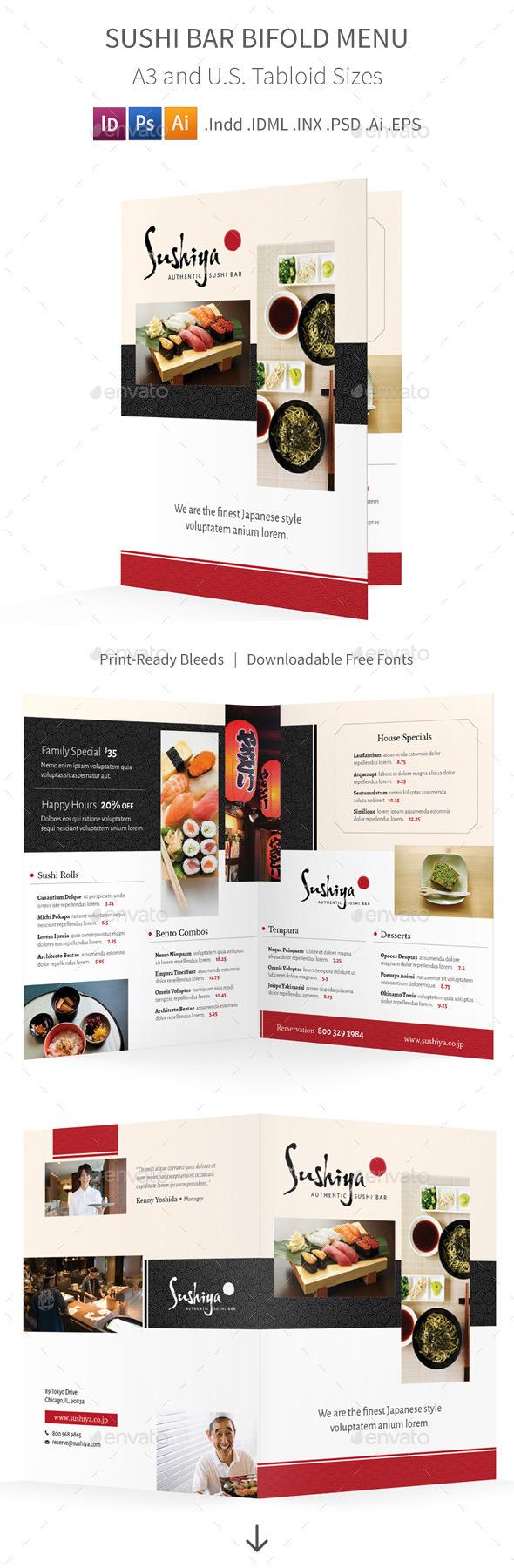 Sushi Bar Bifold / Halffold Menu - Food Menus Print Templates