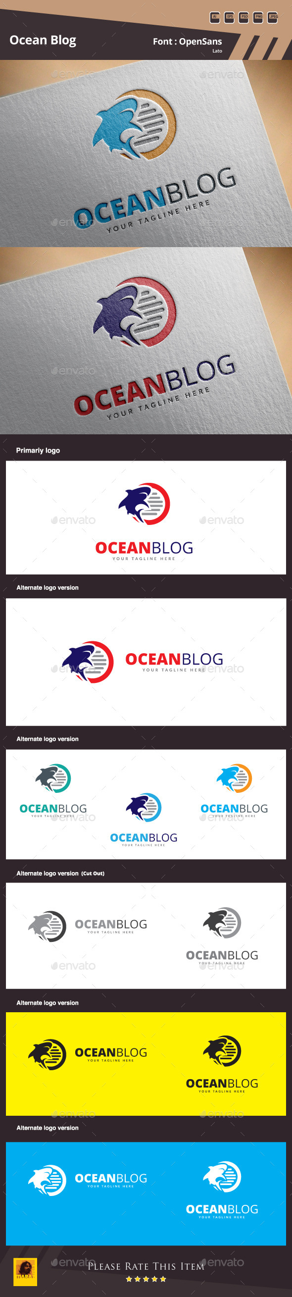 Ocean Blog Logo Template - Animals Logo Templates