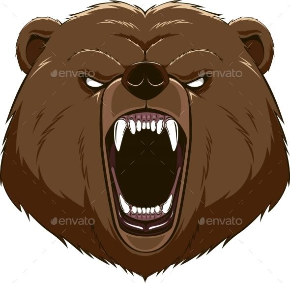 Angry Bear Head Mascot - Tattoos Vectors