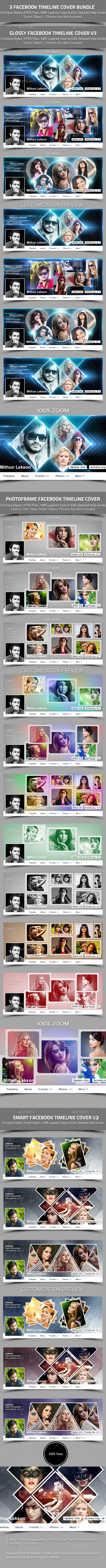3 Facebook Timeline Cover Bundle - Facebook Timeline Covers Social Media