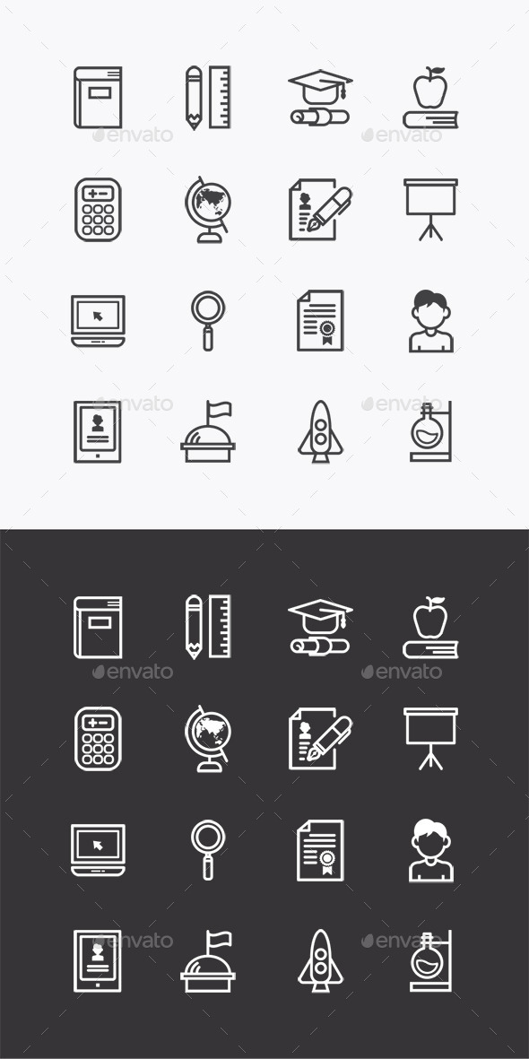 Vector Flat Icons SetEducation School Tools  - Objects Icons
