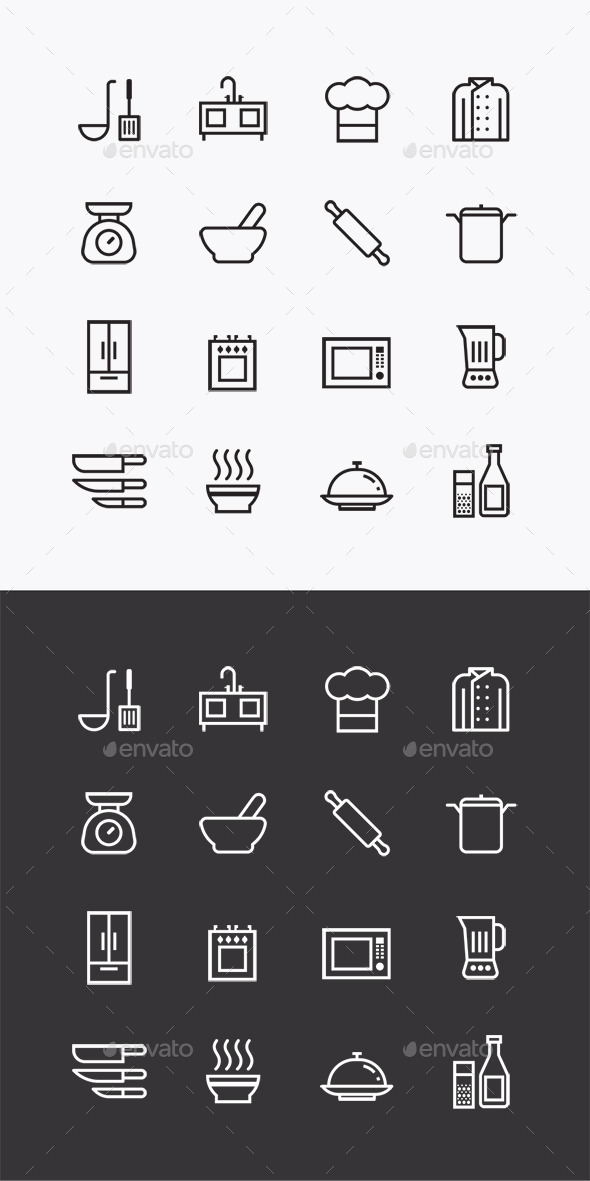 Vector Flat Icons Set Kitchen Tools Outline  - Food Objects
