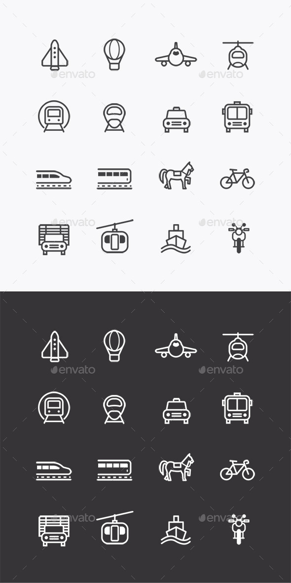 Vector Flat Icons Set Transportation Outline  - Business Icons