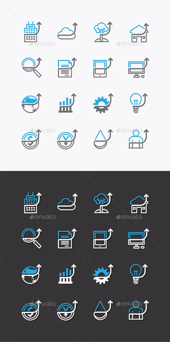 Vector Flat Icons Set Business Finance - Business Icons