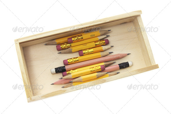 Pencils in Wooden Case - Stock Photo - Images