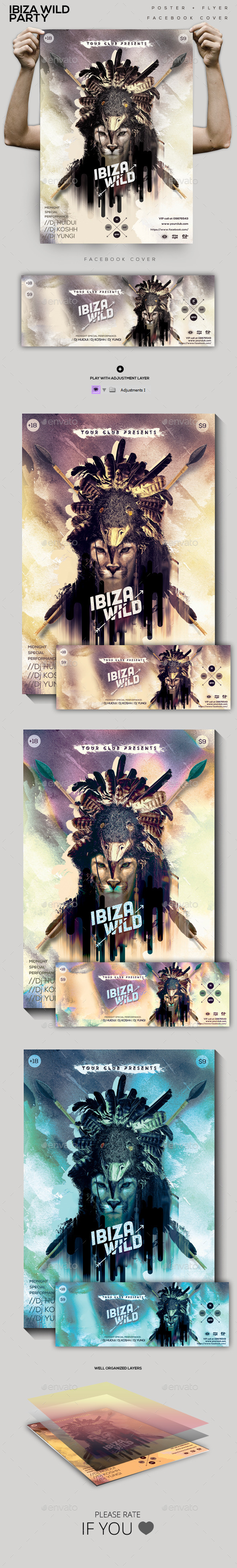 Ibiza Wild Flyer/ Poster/ Facebook cover - Clubs & Parties Events