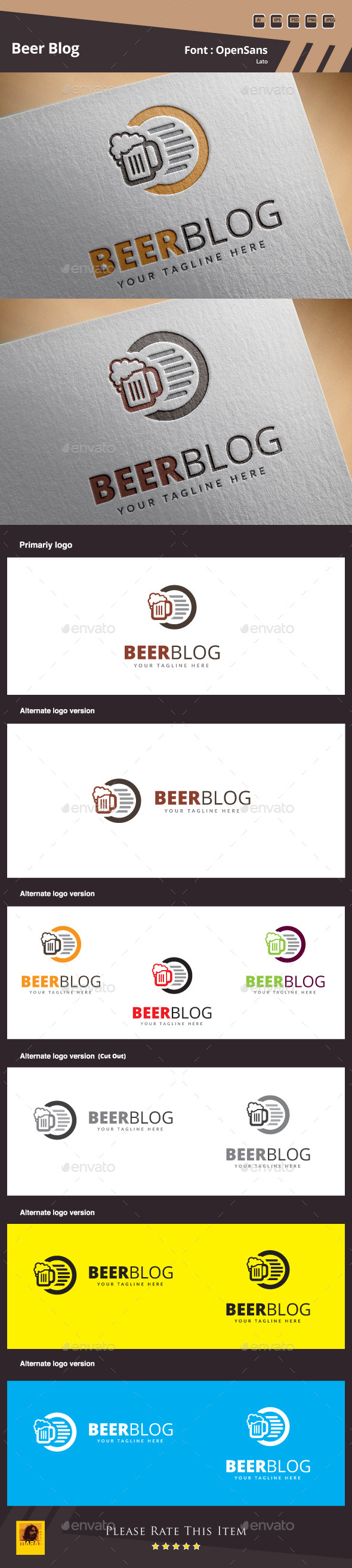 Beer Blog Logo Template - Food Logo Templates