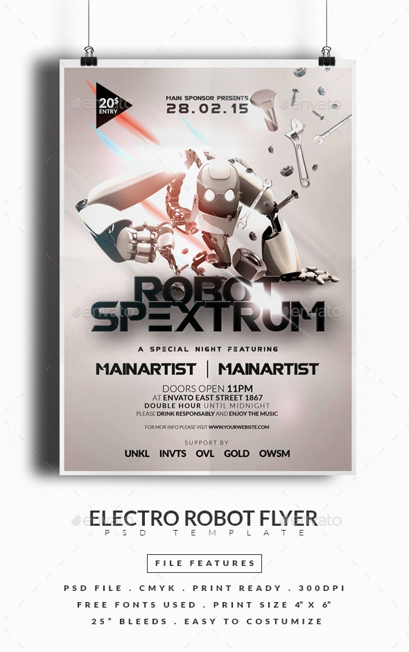 Electro Robot Flyer - Clubs & Parties Events