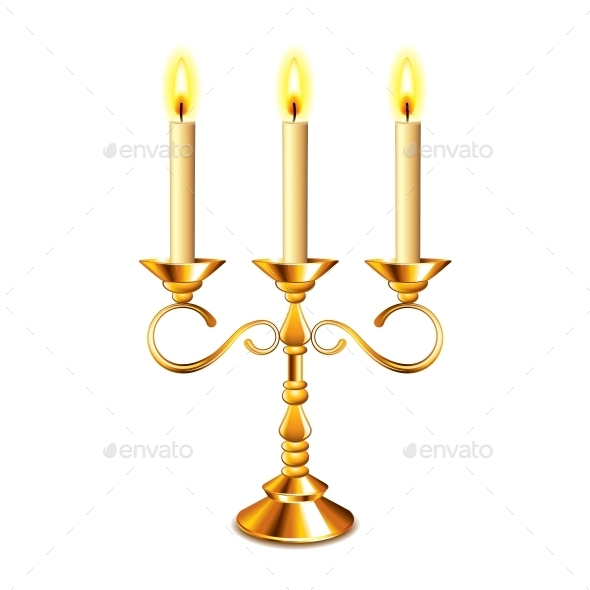 Retro Candlestick with Candles - Decorative Symbols Decorative